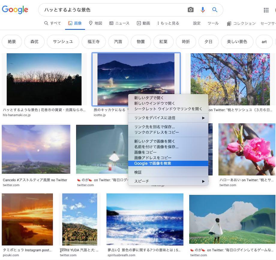グーグル検索、画像検索の説明画面