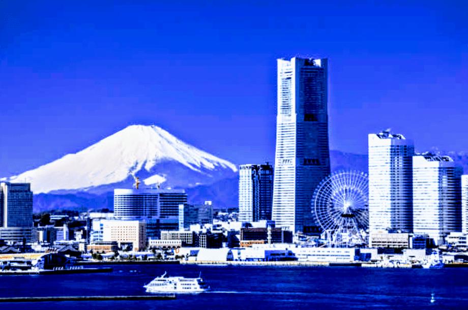 大さん橋から富士山の眺め