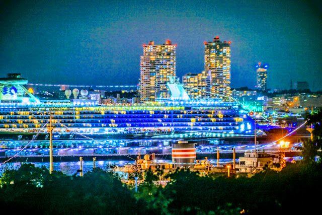 横浜みなとみらい自転車観光の夜景の画像