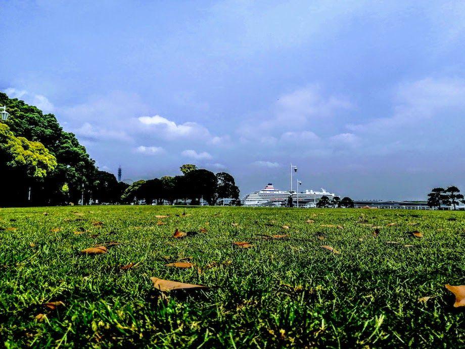 横浜おすすめジョギングコース、山下公園の芝生コースの画像