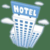ホテル・オフィスビルなどの半公共スペースを場所に選んでオンライン英会話をするアイデアのイラスト
