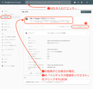 GoogleサーチコンソールのURL検査の図解説明の画像