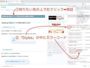 WordPressビギナーにも役立つ検証機能の使い方のカラーコード選択の説明画像